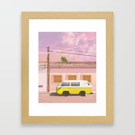 Yellow car Framed Art Print