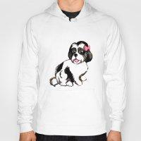 shih tzu Hoodies featuring Shih Tzu Puppy  by Artist Abigail