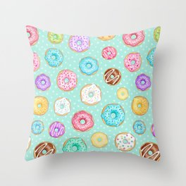 Scattered Rainbow Donuts on spotty mint - repeat pattern Throw Pillow