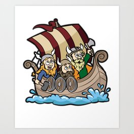 VIKINGS ON VIKING BOAT Longship Brute Berserk Art Print
