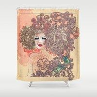 moustache Shower Curtains featuring Moustache by daniela grigore