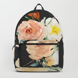 Watercolor Flower Collage on Chalkboard Backpack