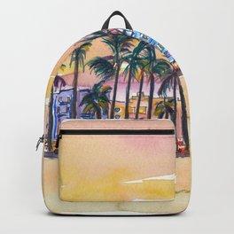 Miami Florida Ocean Drive Lights with Vanilla Sky Backpack