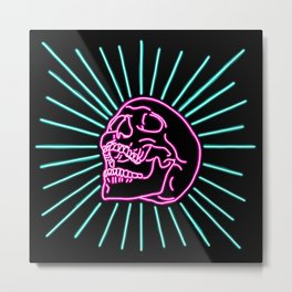 Pink Laughing Skull Metal Print