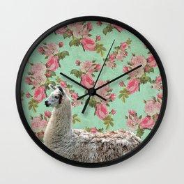 Floral Llama Wall Clock