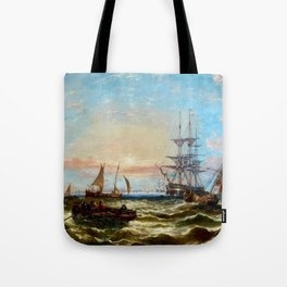 Evening Off Portsmouth seacape nautical sailing schooner painting by John Callow Tote Bag