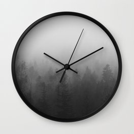 fog forest landscape photography - trees and clouds black and white   Wall Clock