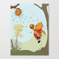 pooh Canvas Prints featuring Pooh Rose by Jen Hynds