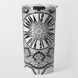 Karma is Only a B**ch if You Are - Be Nice, D***it - Mandala in Black & White Travel Mug