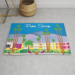 Palm Springs, California - Skyline Illustration by Loose Petals Rug