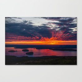 sunrise on cadillac mountain, acadia national park Canvas Print
