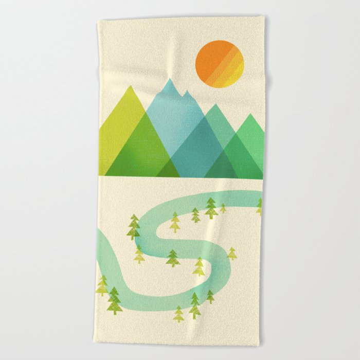 Bend in the River Beach Towel