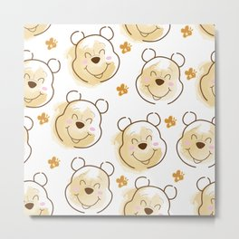 Inspired Pooh Bear surrounded with bees Pattern on White background Metal Print