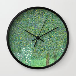 Klimt - Rosebushes under the Trees, 1905 Wall Clock