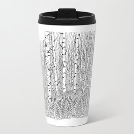 Birch Trees Black and White Illustration Travel Mug