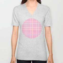 Pink, Blue & Orange Plaid Pattern Unisex V-Neck