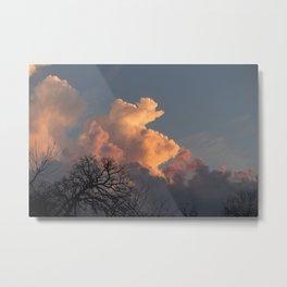 the clouds seem to mimic the treeline. Metal Print