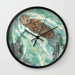 Two Otters Wall Clock