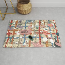 Flamingo and Toucan  Rug