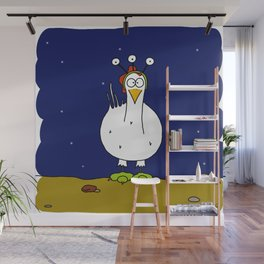 Elantine la poule (the hen) dressed up as an alien. Wall Mural