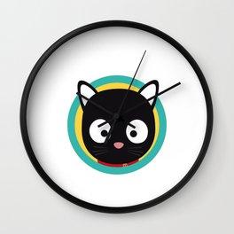 Black Cat with Green Circle Wall Clock