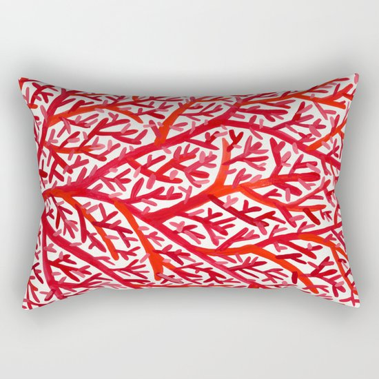 Red Fan Coral Rectangular Pillow