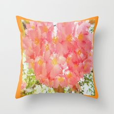Mexico Blossom Pink & Yellow Flower Throw Pillow