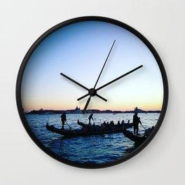 Gondolas at Dusk Wall Clock