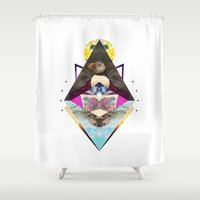 puffin Shower Curtains featuring Cute puffin by Dalika