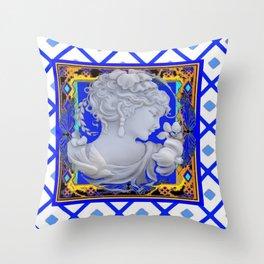 Blue Vintage Girls Cameo Portrait art Throw Pillow
