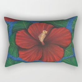 Tropical Hibiscus in Red island art painting Rectangular Pillow
