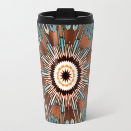Teal Brown Kaleidoscope Travel Mug