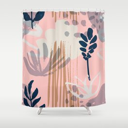 Abstract Leaves and Flowers II Shower Curtain