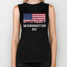 Washington DC American Flag Skyline Distressed Biker Tank