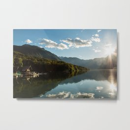 European alps - Sunset at Lake Bohinj  Metal Print
