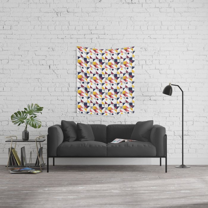 Geometric shapes retro pattern Wall Tapestry