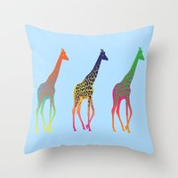 giraffes Throw Pillows featuring Giraffes  by Michelle Jalfon