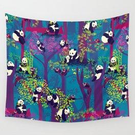 Both Species of Panda - Blue Wall Tapestry