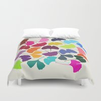 camus Duvet Covers featuring Ginkgo Multicolor by Garima Dhawan