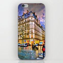Rainy evening in Paris, France iPhone Skin