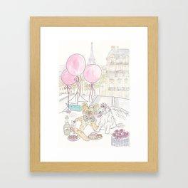 Puppy Dogs Paris Rooftop Picnic Romance Framed Art Print