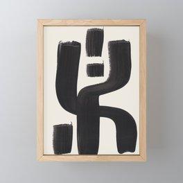 Mid Century Modern Minimalist Abstract Art Brush Strokes Black & White Ink Art Alien Symbol Pattern Framed Mini Art Print