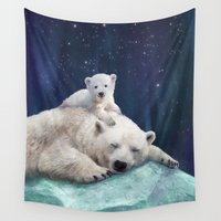 bears Wall Tapestries featuring Polar Bears by Laura Graves