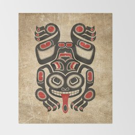 Red and Black Haida Spirit Tree Frog Throw Blanket