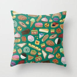 Desserts of NYC Green Throw Pillow