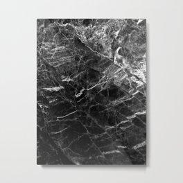 Black Crystal Marble Metal Print
