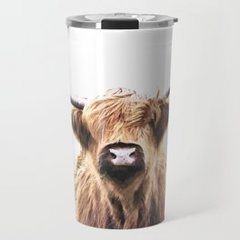 Highland Cow Portrait Travel Mug