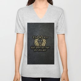Im a leo black leather gold letters Unisex V-Neck