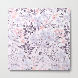 Hand painted modern pink lavender watercolor floral Metal Print