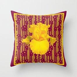 Burgundy Color Yellow Iris Deco Pattern Art Throw Pillow